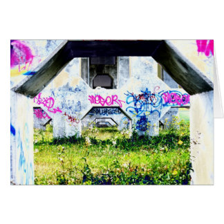 psychedelic graffitis on bridge greeting cards