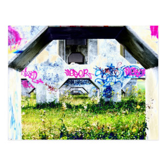 psychedelic graffitis on bridge postcard