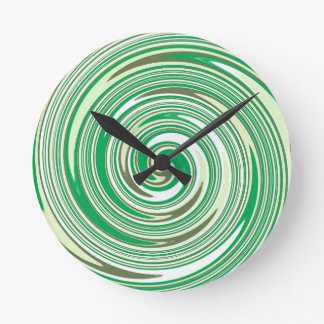 Psychedelic green pinwheel design wallclocks