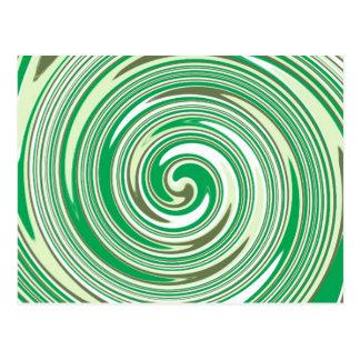Psychedelic green pinwheel design postcard