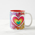 Psychedelic Groovy Peace Sign & Heart Love Mug ♥