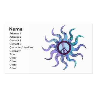 Psychedelic Groovy Trippy Blue Peace Sign Double-Sided Standard Business Cards (Pack Of 100)
