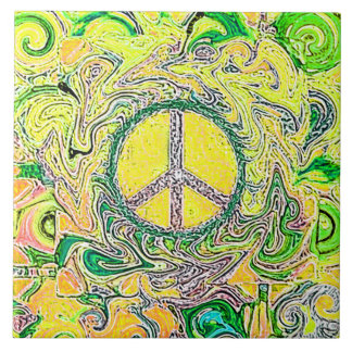 Psychedelic Groovy Trippy Fine Peace Sign Tile