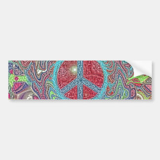 Psychedelic Groovy Trippy Peace Sign Car Bumper Sticker
