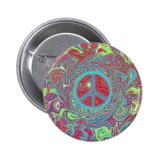 Psychedelic Groovy Trippy Peace Sign Pinback Button