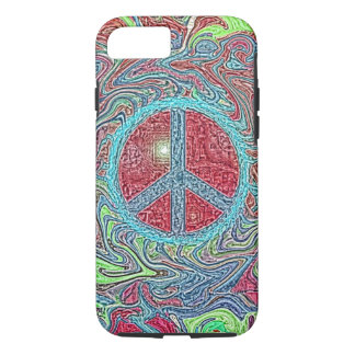 Psychedelic Groovy Trippy Peace Sign iPhone 7 Case