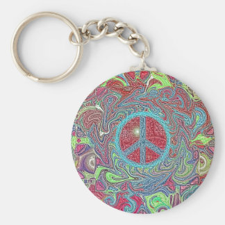 Psychedelic Groovy Trippy Peace Sign Key Chains
