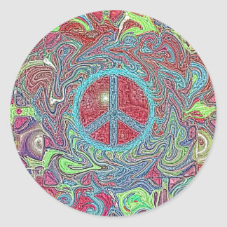 Psychedelic Groovy Trippy Peace Sign Round Sticker
