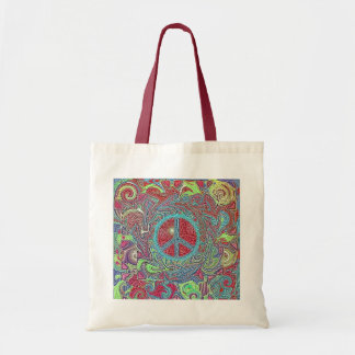 Psychedelic Groovy Trippy Peace Sign Tote Bag
