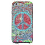 Psychedelic Groovy Trippy Peace Sign Tough iPhone 6 Case