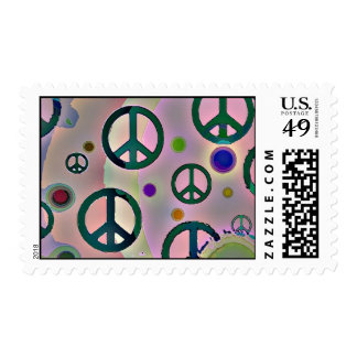 Psychedelic Groovy Trippy Peace Signs Postage