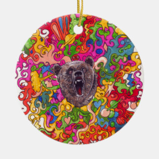 Psychedelic Growling Bear Ceramic Ornament