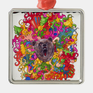 Psychedelic Growling Bear Metal Ornament