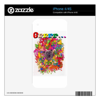 Psychedelic Growling Bear Skin For iPhone 4