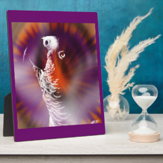 Psychedelic Grunge African Grey Parrot Plaque
