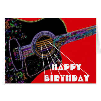 Psychedelic Guitar Birthday Card