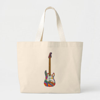 Psychedelic Guitar Large Tote Bag
