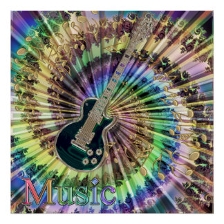 Psychedelic Guitar Swirling Notes Rainbow Music Poster