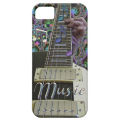 Psychedelic Guitar with Rainbow Notes iPhone Case iPhone 5 Cover