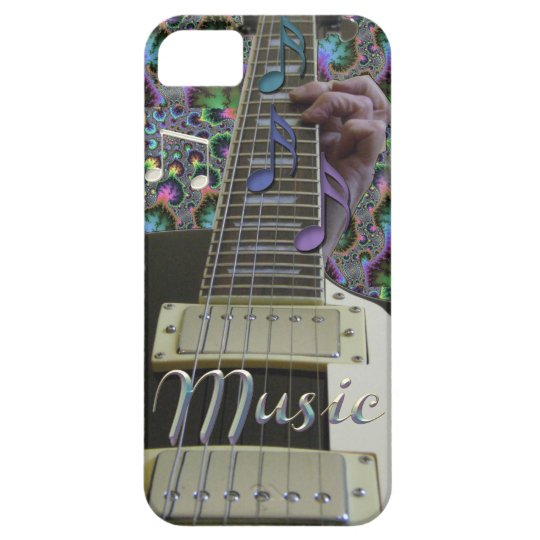 Psychedelic Guitar with Rainbow Notes iPhone Case