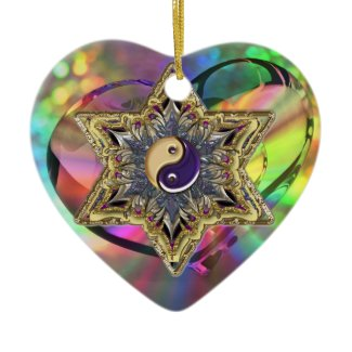 Psychedelic Heart Shaped Star Yin-Yang Ornament