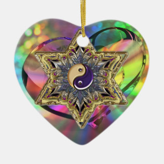 Psychedelic Heart Shaped Star Yin-Yang Ornament