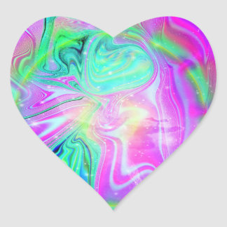 Psychedelic Heart Stickers (20 per sheet)