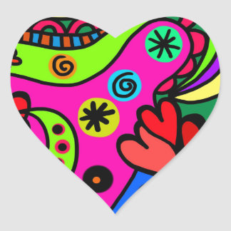 psychedelic hearts #3 heart sticker