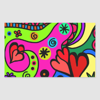 psychedelic hearts #3 rectangular sticker