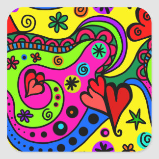 psychedelic hearts #3 square sticker