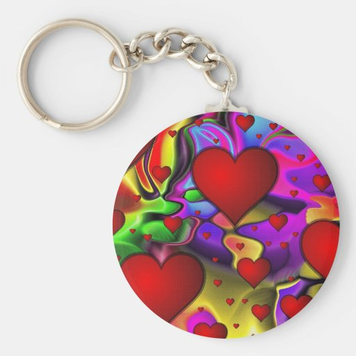 Psychedelic Hearts Key Chains