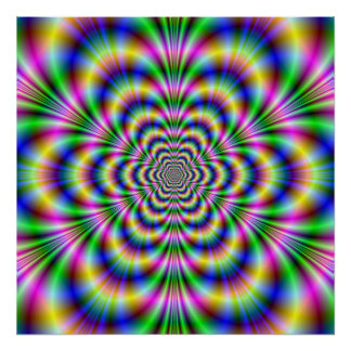 Psychedelic Hexagon Poster