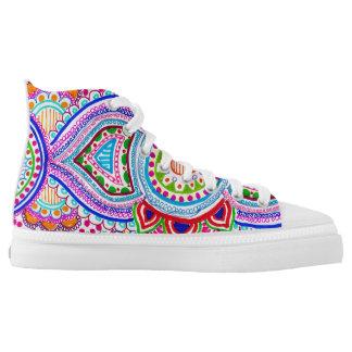 Psychedelic Hi Top ZipZ Printed Shoes