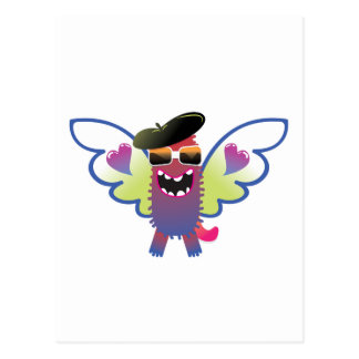 psychedelic hippie angel monster post card