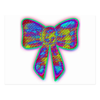 Psychedelic hippie bow postcard