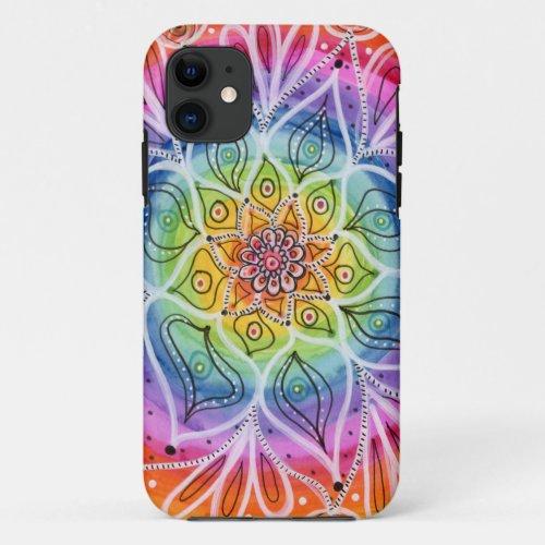Psychedelic, Hippie, Flower Mandala iPhone 11 Case Phone Case