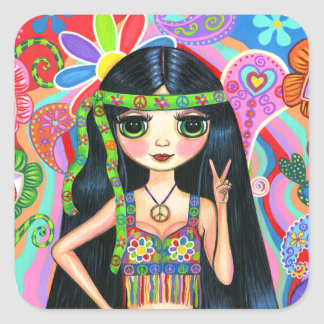 Psychedelic Hippie Girl Headband Peace Sign 1960s Square Sticker
