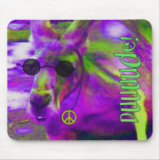 Psychedelic Hippie Peace Loving Kangaroo, Dude! Mouse Pad