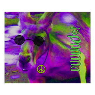 Psychedelic Hippie Peace Loving Kangaroo, Dude! Poster