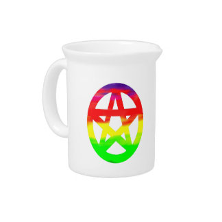 Psychedelic Hippy Pagan Pentacle Drink Pitcher