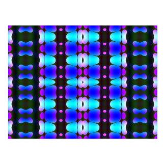 Psychedelic Hippy Stripes Blue Postcard