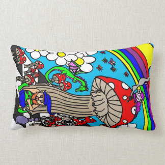 Psychedelic Hookah Smoking Gnome With Mushrooms Throw Pillows