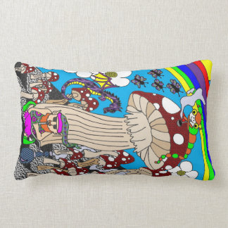 Psychedelic Hookah Smoking Gnome with Mushrooms Throw Pillow