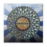 Psychedelic Imagine Mosaic, Strawberry Fields B1 Small Square Tile