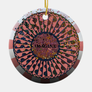 Psychedelic Imagine Mosaic, Strawberry Fields B2 Double-Sided Ceramic Round Christmas Ornament
