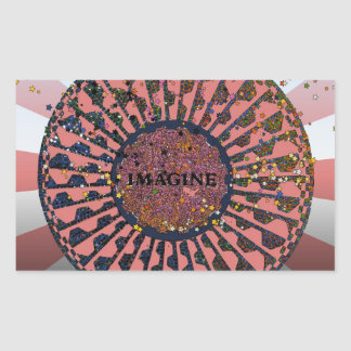 Psychedelic Imagine Mosaic Strawberry Fields B2 Rectangle Stickers