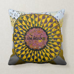 Psychedelic Imagine Mosaic, Strawberry Fields B3 Throw Pillow