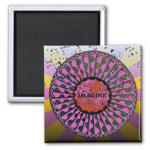 Psychedelic Imagine Mosaic, Strawberry Fields B5 Magnet
