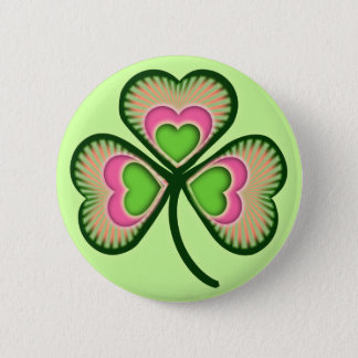 Psychedelic Irish Shamrock Pinback Button