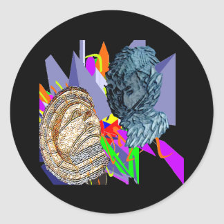 Psychedelic Jaunldzy Face Classic Round Sticker